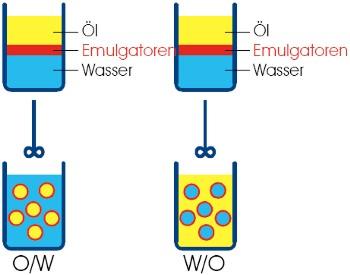 Abbildung o w emulsion unter dem mikroskop